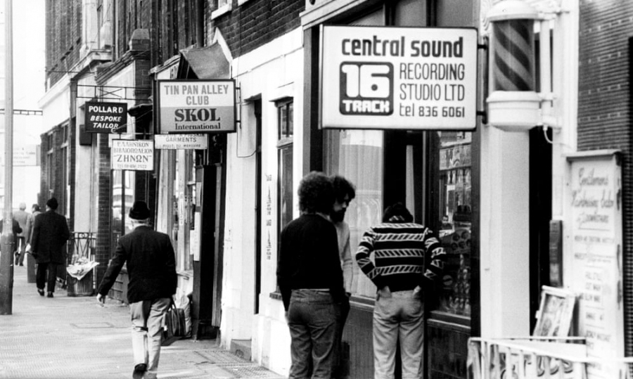Music shops in Denmark Street, aka Tin Pan Alley, in 1975.