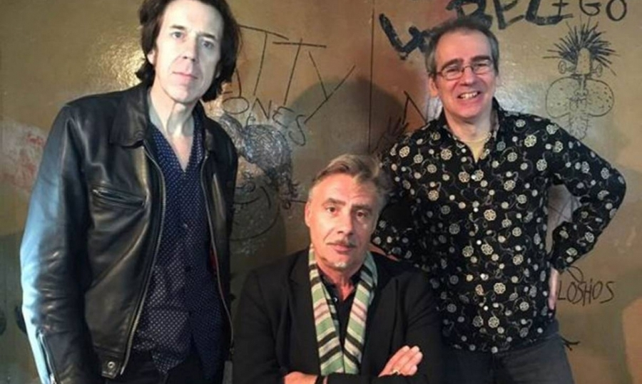 From left: Rupert Orton of The Jim Jones Revue, the Sex Pistols' Glen Matlock and Henry Scott-Irvine of the Save Tin Pan Alley Campaign, by the Malcolm 'Muggeridge' McLaren cartoo